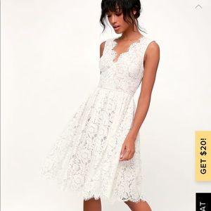 Lulus white lace skater midi dress